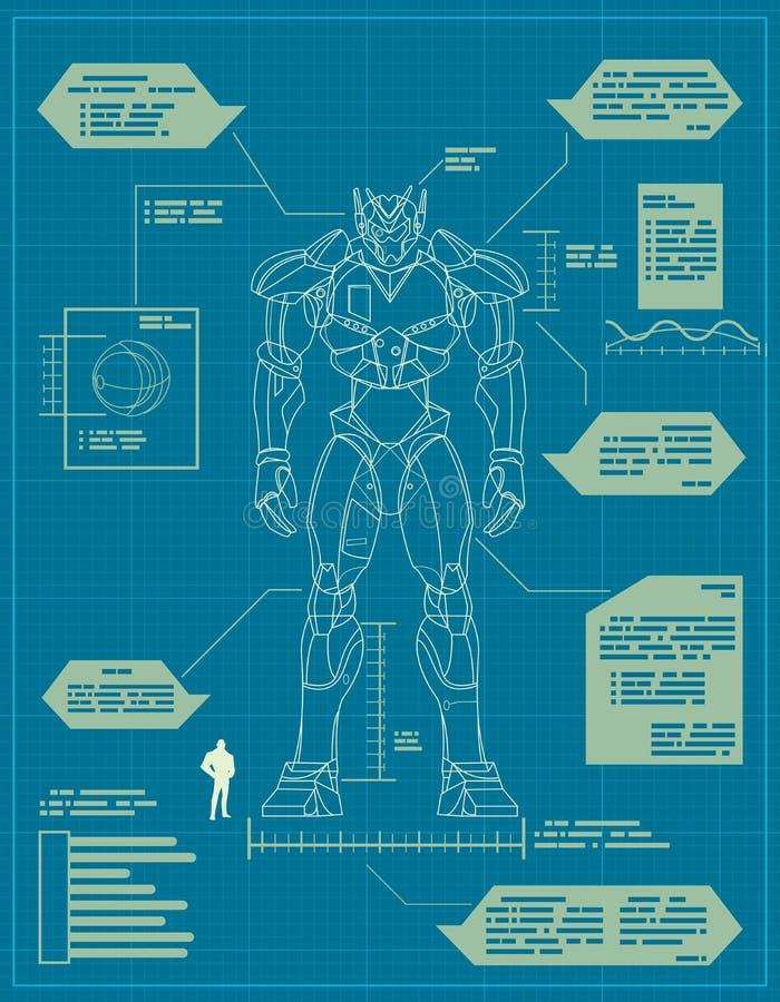 Giant Robot Blueprint vector illustration