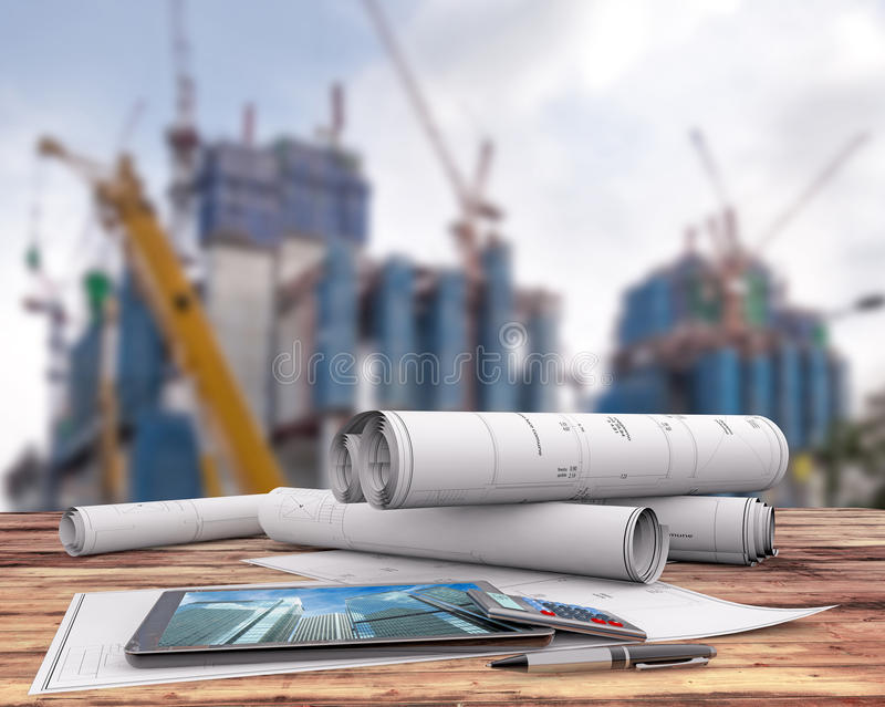 Blueprint in the construction site. Blueprints and tablet on office table in the construction site, 3d illustration vector illustration