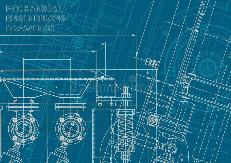 Blueprint. Corporate style. Instrument-making drawings royalty free illustration