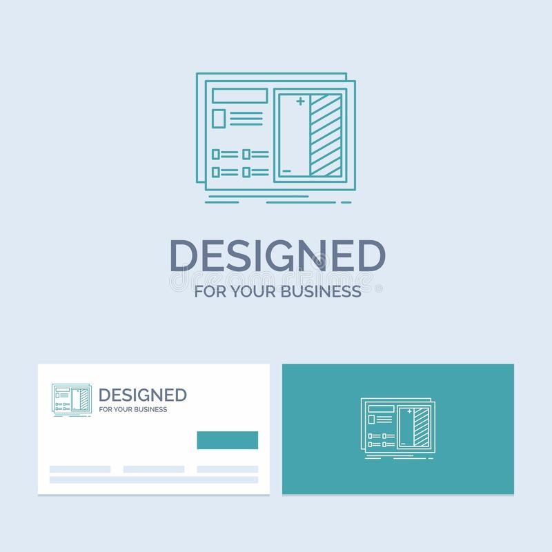 Blueprint, design, drawing, plan, prototype Business Logo Line Icon Symbol for your business. Turquoise Business Cards with Brand. Logo template. Vector EPS10 royalty free illustration