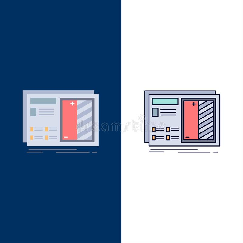 Blueprint, design, drawing, plan, prototype Flat Color Icon Vector stock illustration