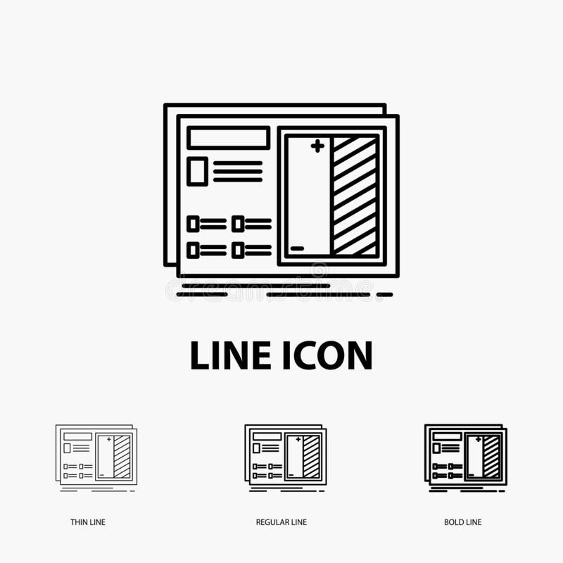 Blueprint, design, drawing, plan, prototype Icon in Thin, Regular and Bold Line Style. Vector illustration. Vector EPS10 Abstract Template background vector illustration