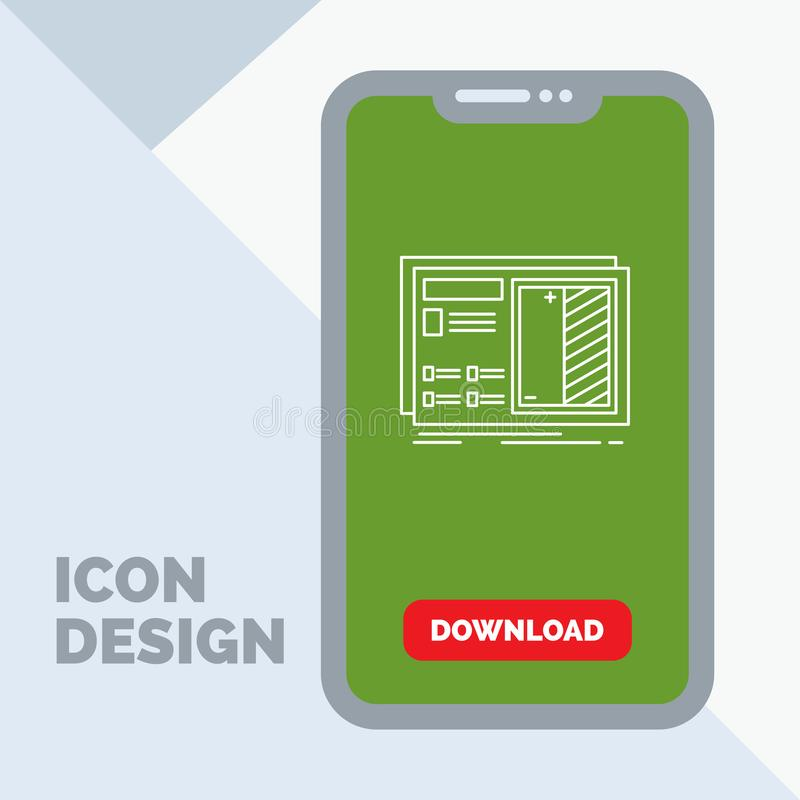 Blueprint, design, drawing, plan, prototype Line Icon in Mobile for Download Page. Vector EPS10 Abstract Template background vector illustration