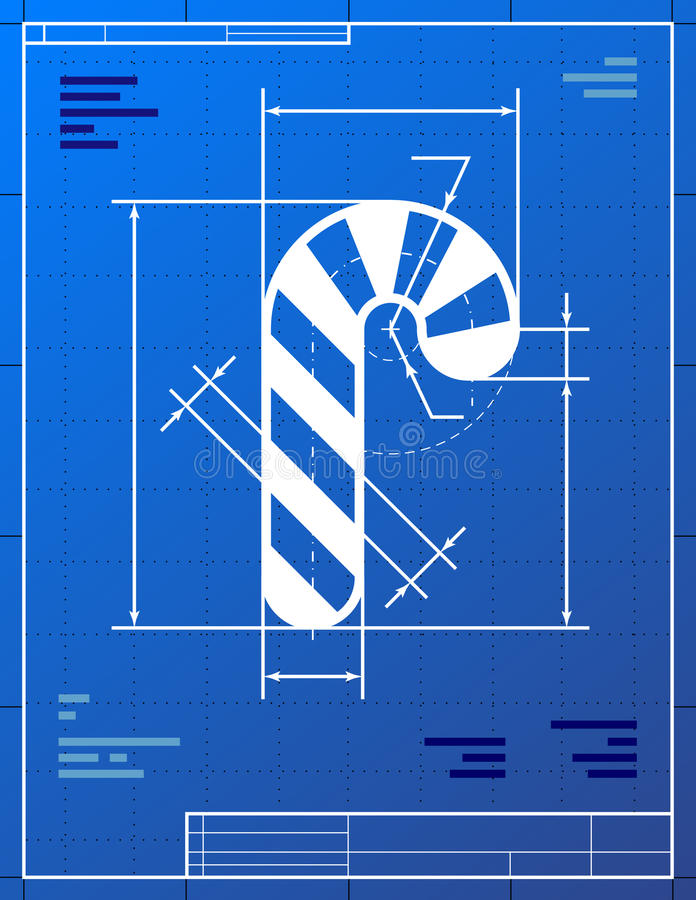 Blueprint Drawing Of Christmas Candy Cane Stock Photo