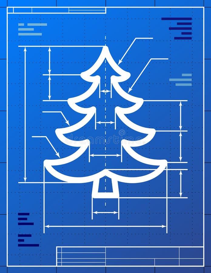 Blueprint drawing of christmas tree stock illustration