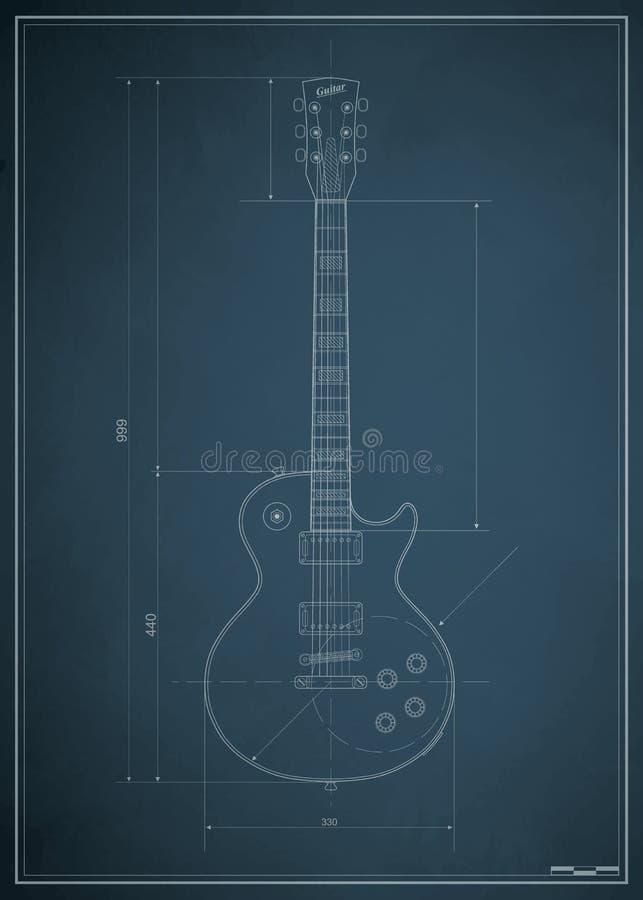 Blueprint Electric Guitar Stock Image