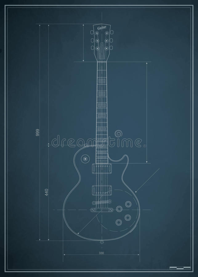 Blueprint elektrische Gitarre lizenzfreie abbildung