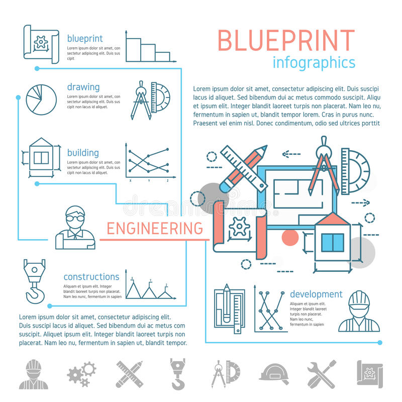 Blueprint and engineering linear infographics stock vector download blueprint and engineering linear infographics stock vector illustration 73950543 malvernweather