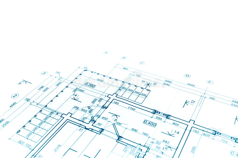 Blueprint floor plan, architectural drawing, construction background. Architectural background with floor plan blueprint technical drawing royalty free stock photography