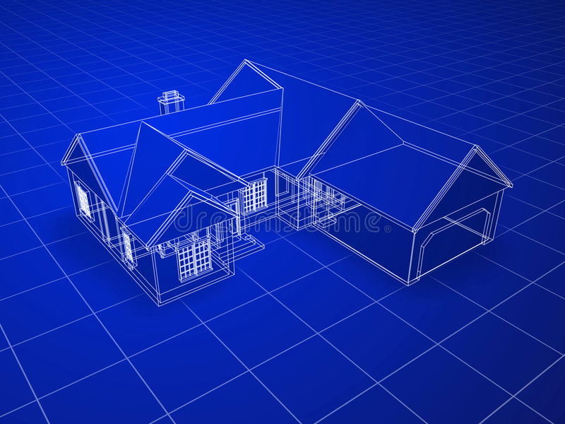 Blueprint House Stock Images