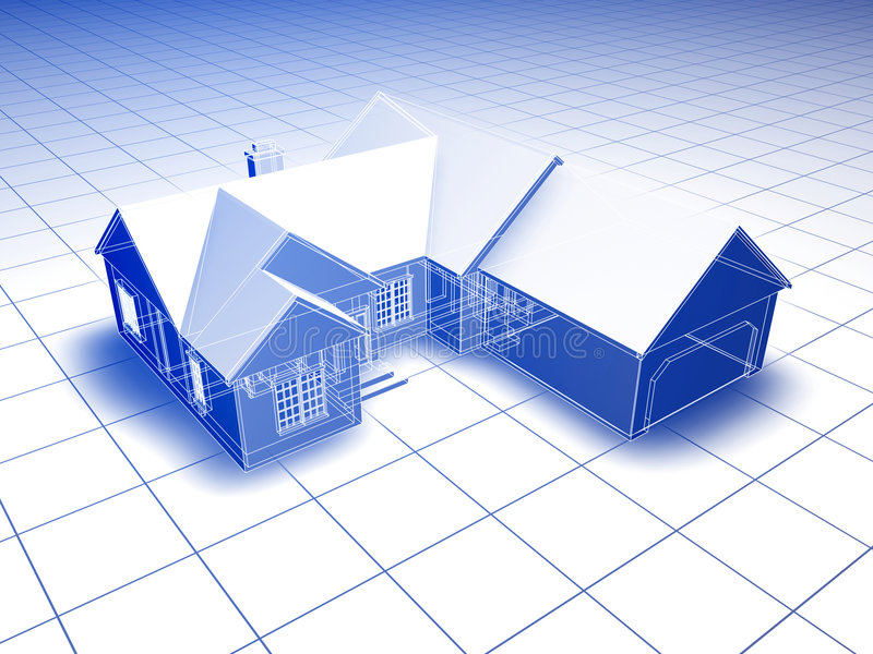 Blueprint House stock photo