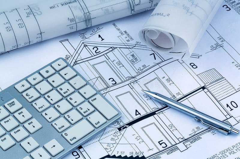 Download Blueprint for a house stock photo. Image of financing - 30701410