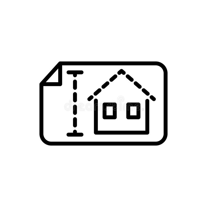 Blueprint house architecture icon line style stock illustration