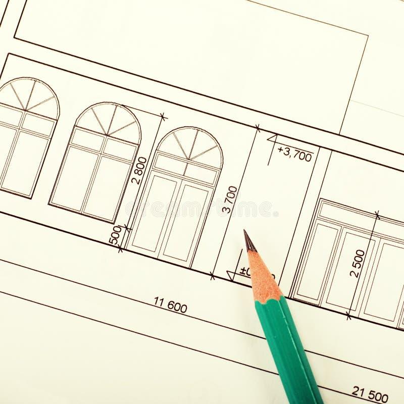 Blueprint of house stock photos