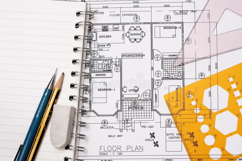Blueprint house plan stock images