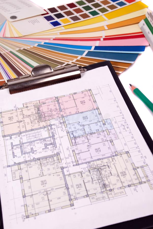 Blueprint of house plans royalty free stock photo