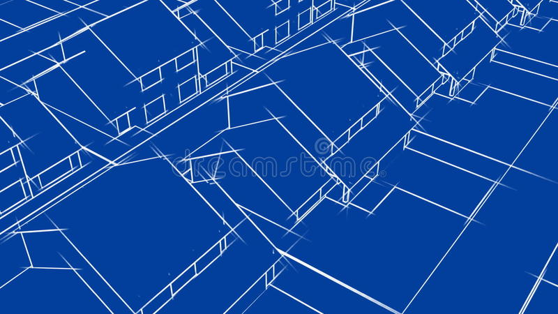 Blueprint Houses Animation (HD Loop) Stock Video - Video of painting ...