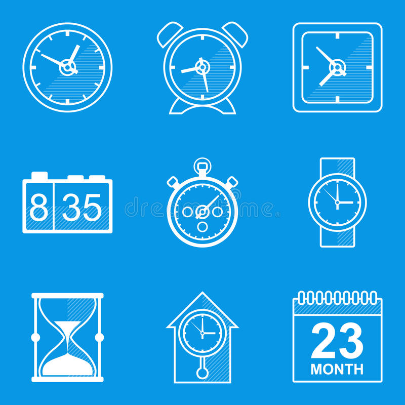 Blueprint icon set time clock stock vector image 46732750 download blueprint icon set time clock stock vector image 46732750 malvernweather Gallery