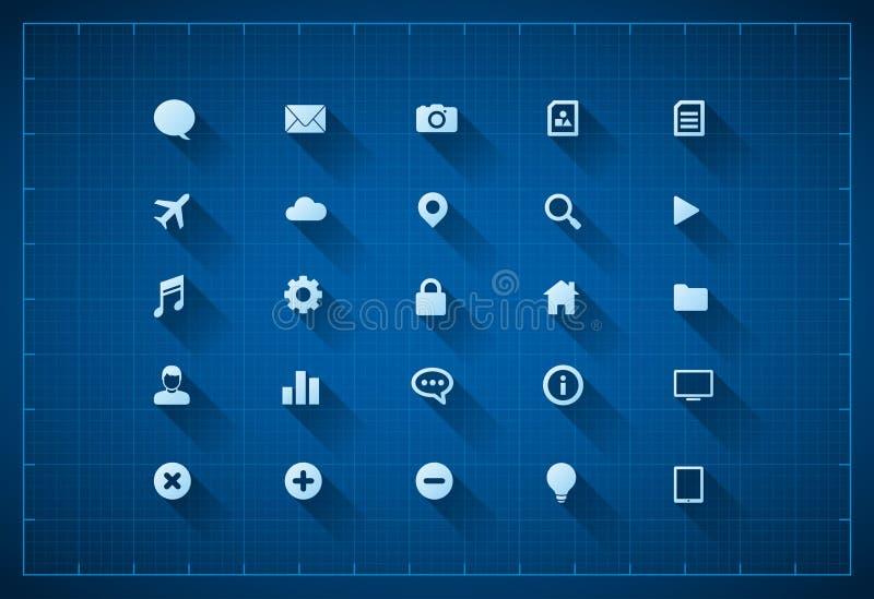 Blueprint Icon Set Royalty Free Stock Photos
