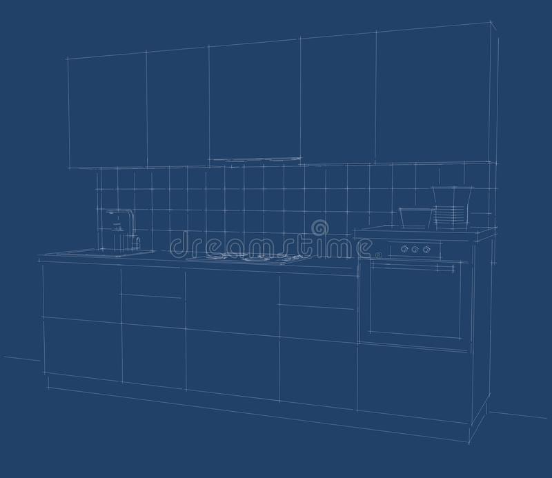 Blueprint of kitchen perspective stock illustration illustration download blueprint of kitchen perspective stock illustration illustration of canopy concept 90078142 malvernweather Gallery