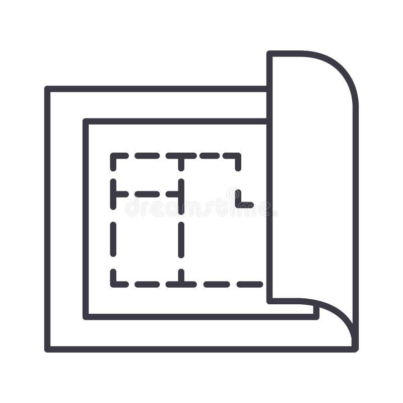 Blueprint, línea icono, muestra, ejemplo del vector del proyecto del plan de la casa en el fondo, movimientos editable ilustración del vector