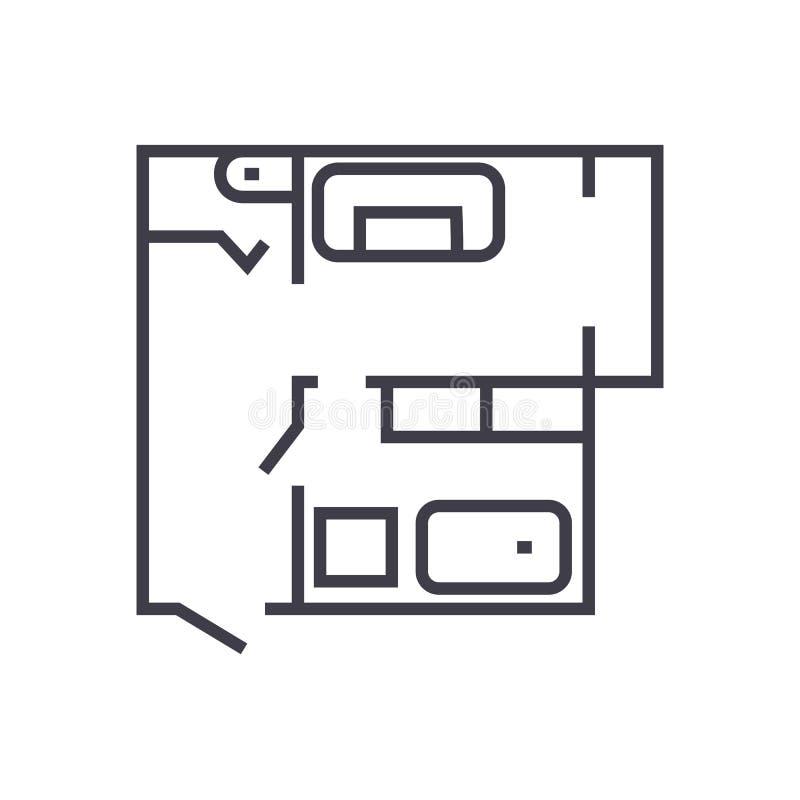 Blueprint, ligne plate icône, le signe, illustration de vecteur de plan de maison sur le fond, courses editable illustration libre de droits