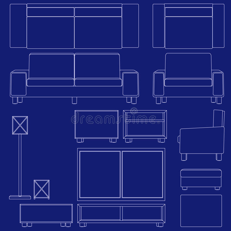 Blueprint living room furniture stock vector illustration of couch download blueprint living room furniture stock vector illustration of couch blueprint 11234652 malvernweather Images