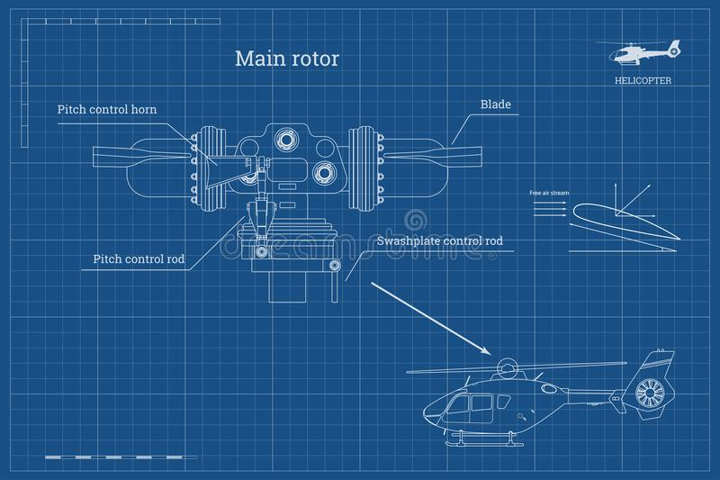 Blueprint of main rotor of helicopter in outline style industrial download blueprint of main rotor of helicopter in outline style industrial drawing of gearbox part malvernweather Images