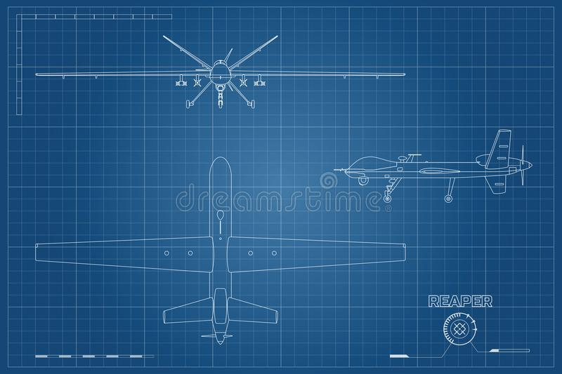 Blueprint of military drone in outline style top front and side download blueprint of military drone in outline style top front and side view malvernweather Images