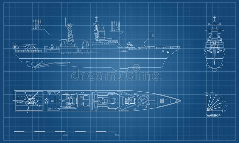 Blueprint of military ship. Top, front and side royalty free illustration