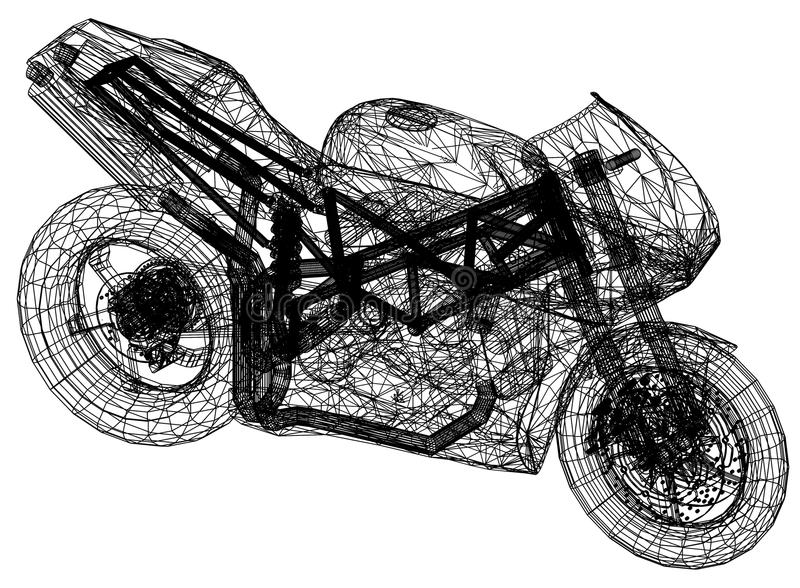 Blueprint motorcycle – 3D perspective stock illustration