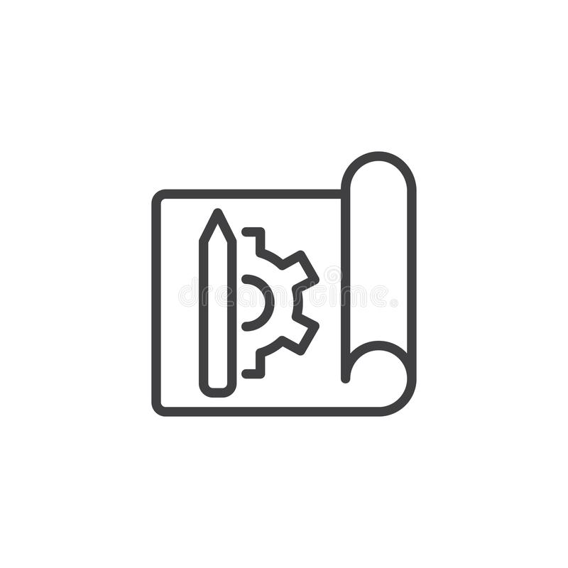 Blueprint paper with gear and pencil outline icon royalty free illustration