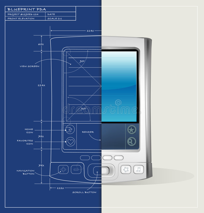 Blueprint PDA Device royalty free illustration