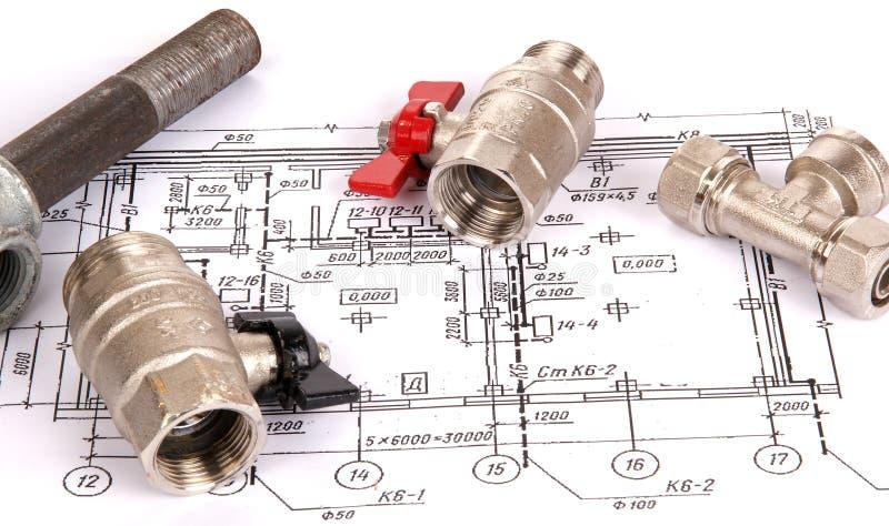 Download Blueprint And Plumbing Supplies Stock Photo - Image: 18200532