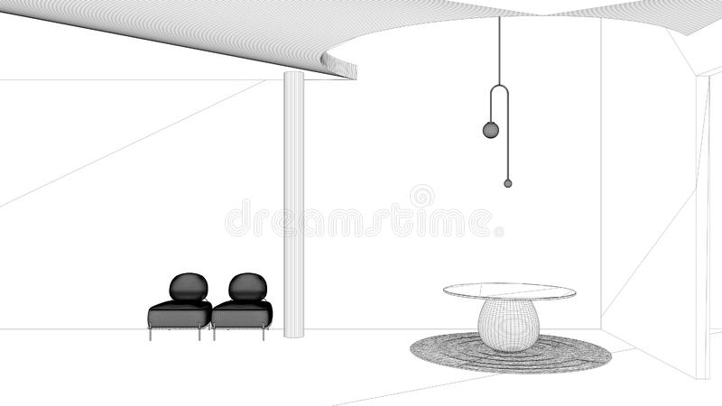 Blueprint project draft, classic metaphysics interior design, lobby, hall, round table and pendant lamp, armchairs, living, empty royalty free illustration