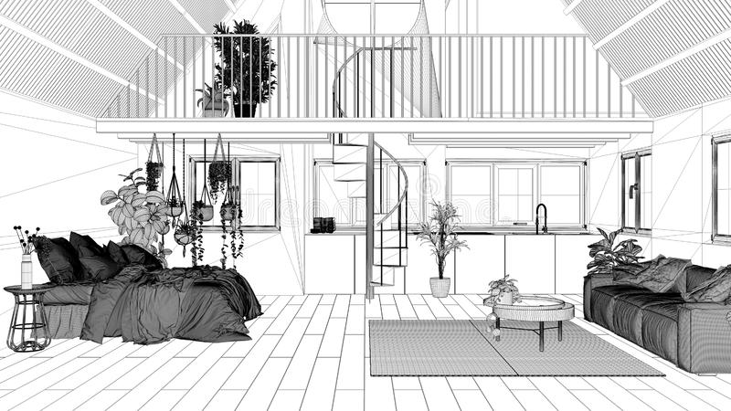 Blueprint Project Draft Loft With Mezzanine And Staircase