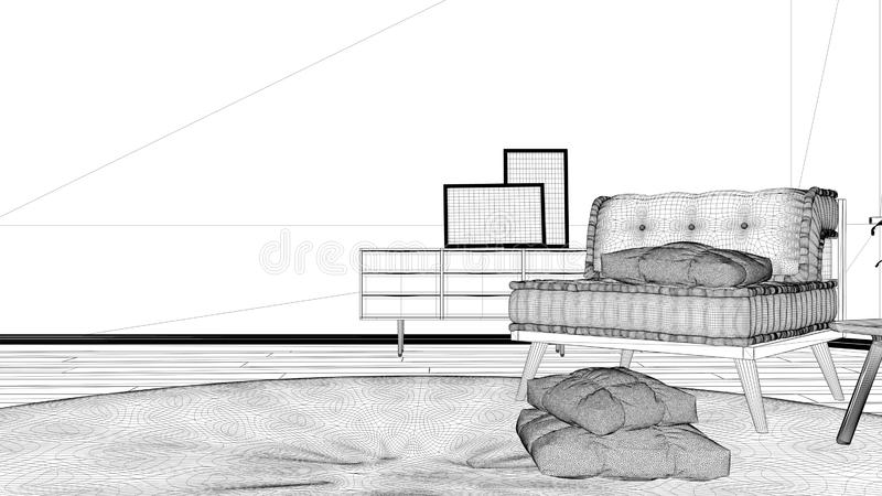 Blueprint project draft, minimalist living room with big round carpet and sofa with pillows, modern interior design architecture. Concept idea vector illustration