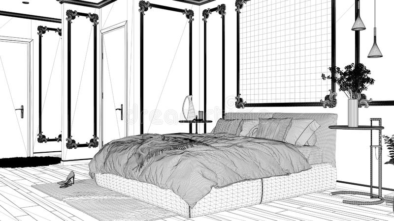Blueprint project draft, modern bedroom in classic room with wall moldings, parquet, double bed with duvet and pillows, mirror and. Decors, interior design stock illustration