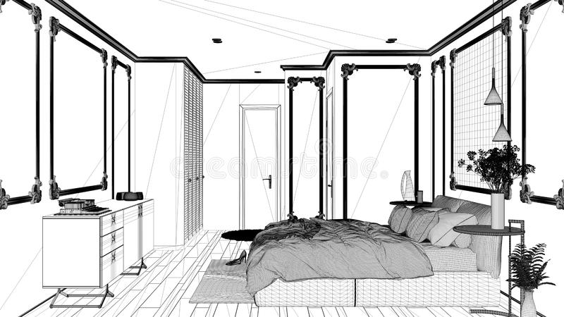 Blueprint project draft, modern bedroom in classic room with wall moldings, parquet, double bed with duvet and pillows, mirror and. Decors, interior design royalty free illustration