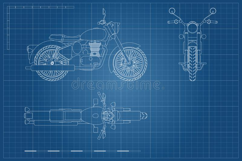 Blueprint of retro classic motorcycle in outline style. Side, top and front view. Industrial drawing of motorbike. Blueprint of retro classic motorcycle in vector illustration