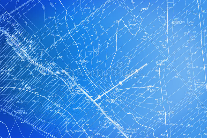 Blueprint. Site plan. Blue blueprint (site plan). Documentation architectural background stock image
