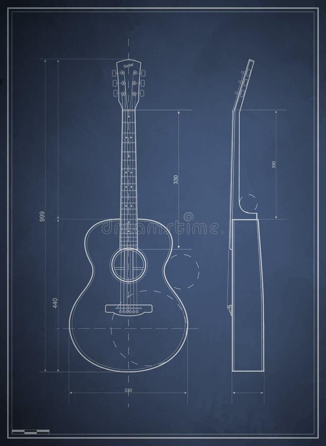 Blueprint Six-acoustic Guitar Stock Image