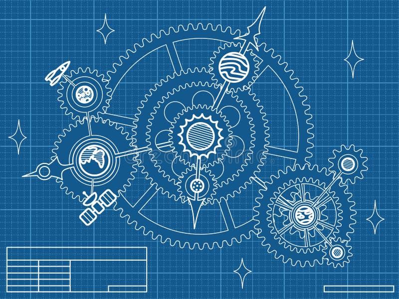 Blueprint of space mechanic vector illustration