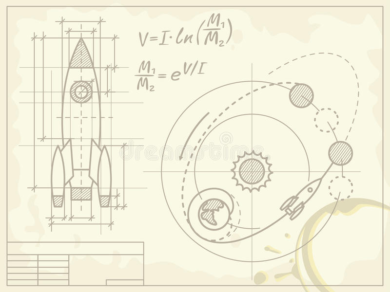 Blueprint of the spaceship and its flight path vector illustration