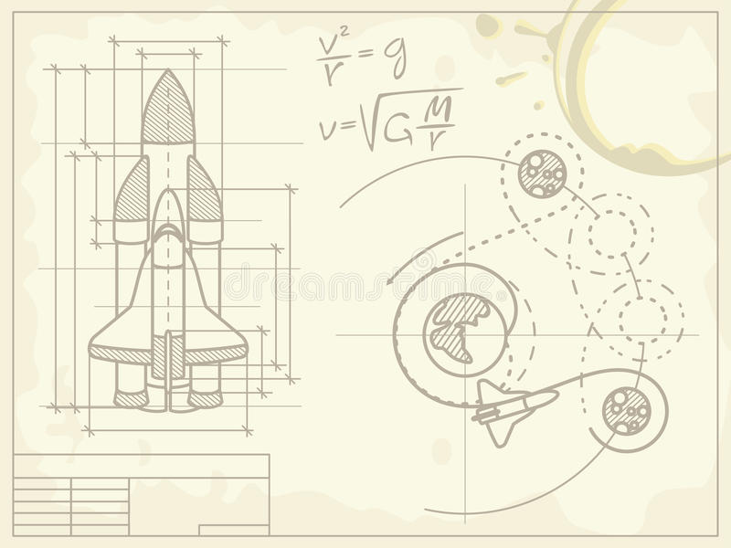 Download Blueprint Of The Spaceship And Its Flight Path Stock Photos - Image: 19024483