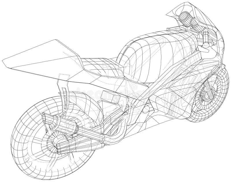 Blueprint sport bike. EPS10 format. Vector created of 3d vector illustration
