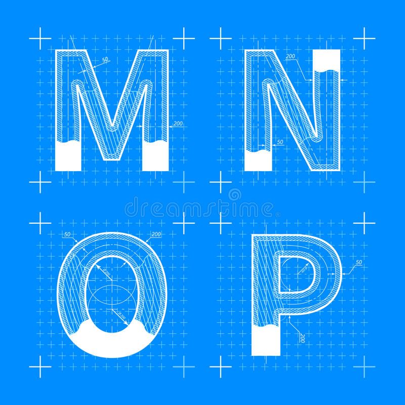 Blueprint style font on white stock vector illustration of construction sketches of m n o p letters blueprint style malvernweather Image collections