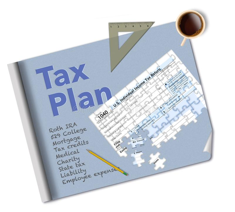 A blueprint and a tax form 1040 that is a jigsaw puzzle make this illustration about income tax planning. This is an illustration stock photography