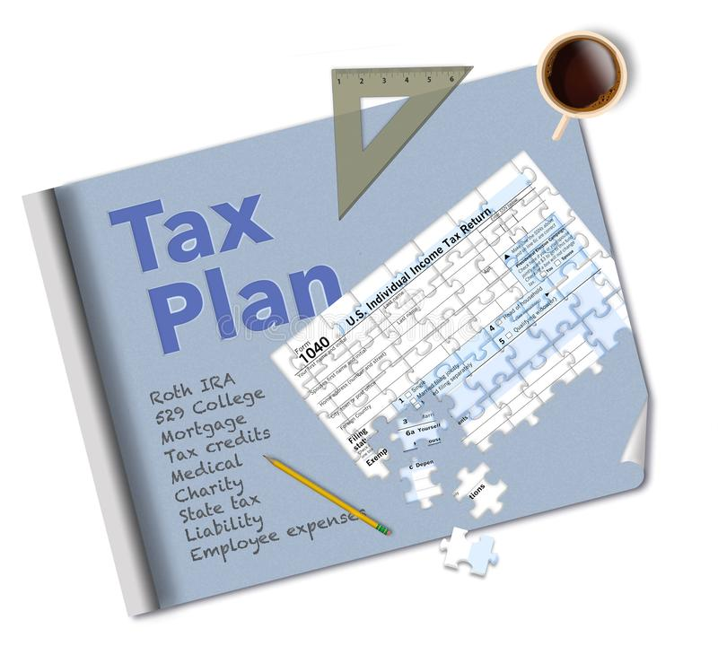 A blueprint and a tax form 1040 that is a jigsaw puzzle make this illustration about income tax planning. This is an illustration royalty free stock photography