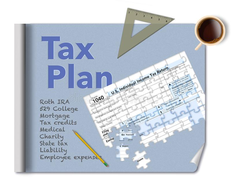 A blueprint and a tax form 1040 that is a jigsaw puzzle make this illustration about income tax planning. This is an illustration stock image